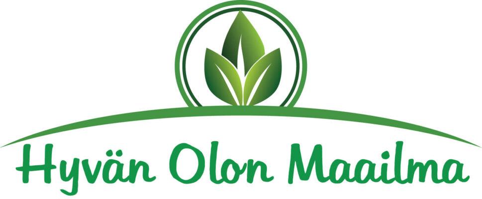 Hyvän Olon Maailma- maahantuontiyrityksen logo. Valkoisella pohjalla vihreä teksti sekä lehden kuva.