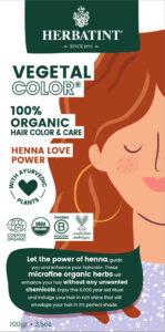 Herbatint kasviväri valkovihreässä pahvipakkauksessa sävyssä henna love power.